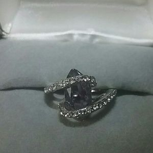 NEW 925 SILVER VINTAGE RING BLUE SAPPHIRE SIZE 7.